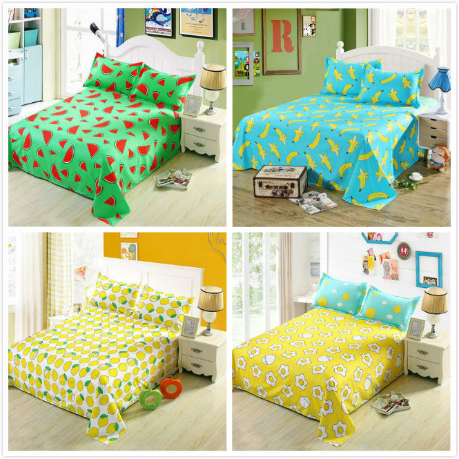 Cartoon Watermelon,Pear, Banana,Childrens Kid Twin Flat Sheets King Pretty Plaid Bed Sheets Queen Bed Lines Bedsheet Bedspread