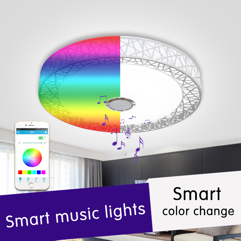 Bird Nest Wireless Bluetooth LED Ceiling Light Music & Multi-Colors Changing Smart Remote control Lamp metal & Acrylic lampshade