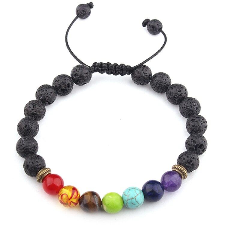 Image 2 - Buddha Bless 7 Chakra Bracelet Black Lava Healing Balance Beads  Reiki Buddha Prayer Natural Stone Bracelet For WomenCharm Bracelets