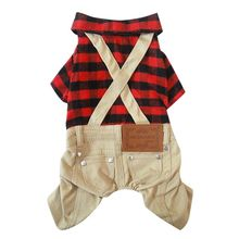 Pet Dog England Style Plaid Shirt Coat Rompers Clothes Puppy Jacket Winter Warm Costume Z