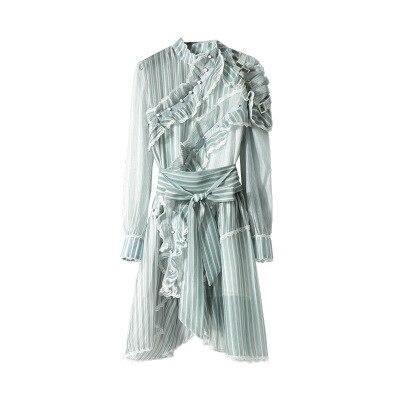 Printemps Rayé Haute Été Mousseline Vintage Robe De Desinger Longues Piste À Qualité Manches En Irrégulière Bohème Femmes Soie 2018 SZ0tWnf7