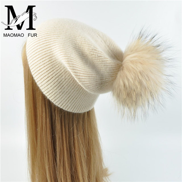 Women Raccoon Fur Pom Pom Hat Spring Warm Knitted Casual High Quality Vogue Hats Ladies Wool Knitted Beanie Hat