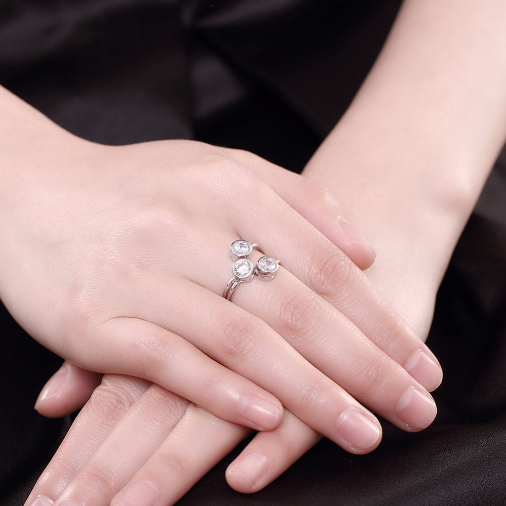 Visisap 3 Princess Cut stones engagement Real Solid 925 Sterling ...