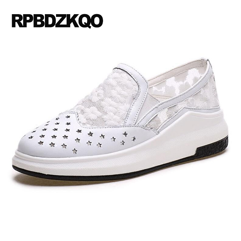 Big Size High Heels Round Toe Women Platform Shoes Cool Casual White Lace Wedge Black Creepers Medium Pumps Mesh Chinese Fashion nayiduyun women casual shoes low top platform wedge high heels boots round toe slip on pumps punk chic shoes black white sneaker