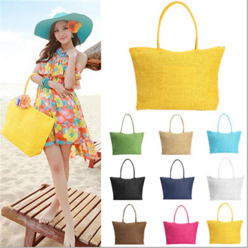 2017 Hot New Design Straw Popular Summer Style Weave Woven Shoulder Tote Shopping Beach Bag Purse Handbag Gift FreeShipping N770 3