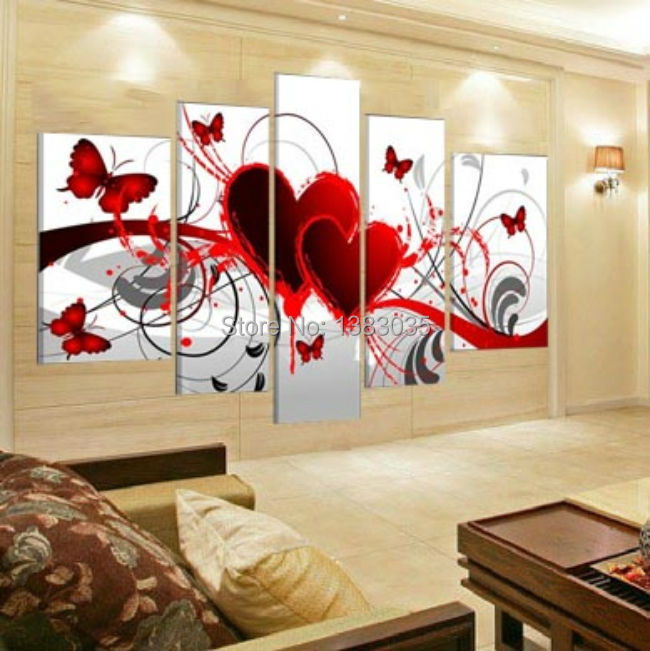 red living room set area rug hand painted oil wall art abstract hearts loving ...