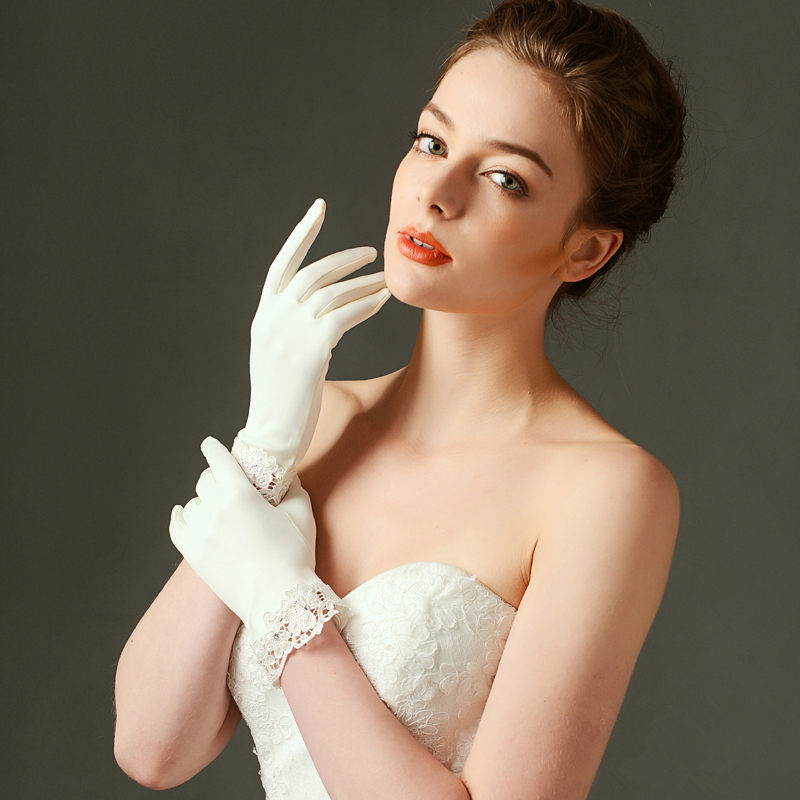 Bridal Gloves Short Satin Lace Trim Ivory Wedding Bridal Accessory ...