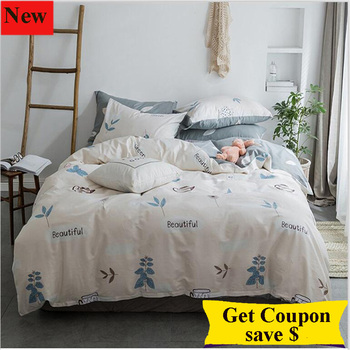 free shipping 4pcs simple style quality duvet cover bed sheet mattress cover pillowcase quilt cover pure cotton bedding set