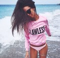FLAWLESS  letter  PINK Sweatshirt Jumper women autumn rock chick sweatshirt PINK colours