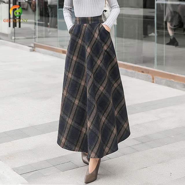 2019 Women Vintage Woolen Plaid Midi Skirt Ladies High Waist Big Swing England Style Long Chic Skirts Brand Ankle-Length Skirts
