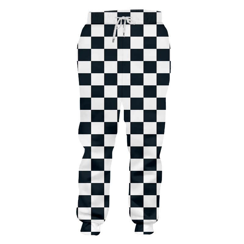 OGKB Fall Winter Loose Comfort Long Pants Men's Cool Print Black White Grid 3D Sweatpants Man Hiphop Harem Joggers Pants Homme