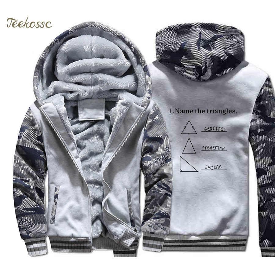 Nama Segitiga Matematika Lucu Hoodie Pria Sarkasme Baru I LOVE Math Hooded Sweatshirt Mantel Musim Dingin Tebal Fleece Jaket Hangat pria