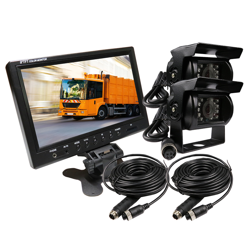 FREE SHIPPING 12V - 24V 9 Color LCD Car Reversing Monitor 2CH Video View System Waterproof Rear View Camera for Bus Van Truck free shipping 4 3 lcd monitor car rear view kit 1ch auto parking system for truck bus school bus dc 12v input rear view camera