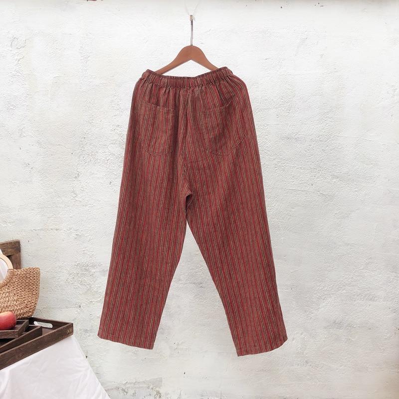 New Spring Summer Linen Trousers Print Literary Harem Pants Loose Drawstring Elastic Waist Pants Casual Pants 2