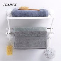 Magic Suction Cup Bathroom Shelf Towel Bar Double layer Multi function Kitchen Storage Rack Cosmetic Toiletries Organizer