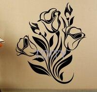 Kwiaty Natura Roślin Pokoju Naklejka Vinyl Kalkomania Ścienna Wnętrze Sypialni Wystrój Domu Mural H68cm x W58cm/23.7