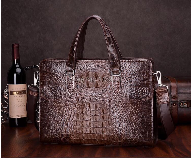 2016 Fashion Men's Genuine/Real Crocodile Skin Briefcase Laptop Bag Top Handbag Black/Brown/Coffe