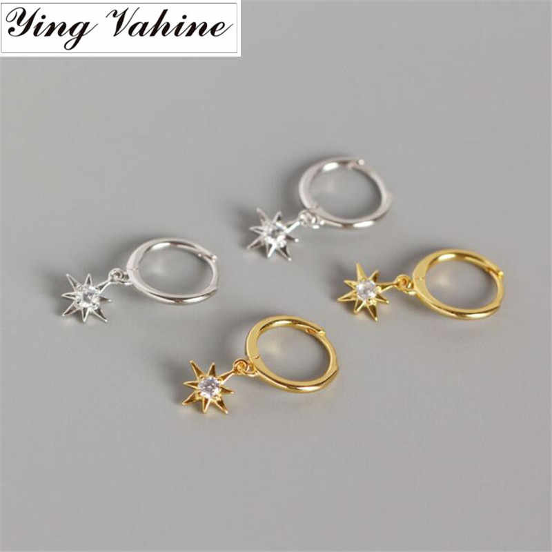 ying Vahine New Arrival 100% 925 Sterling Silver Mini Zircon Star Pendant Small Stud Earrings for Women Free Shipping