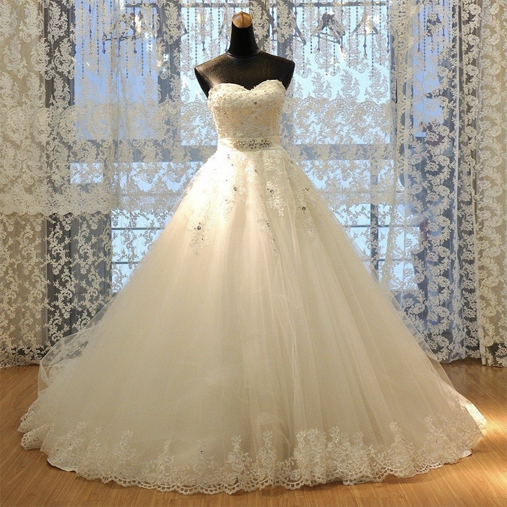 Fansmile 2020 Vestido De Noiva Elegant Luxury Lace Wedding Dress Vintage Ball Gowns Train Plus Size Customized FSM-513T