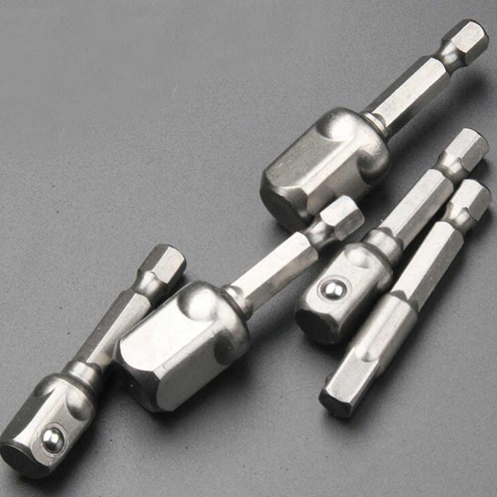 "1pcs כרום ונדיום פלדה שקע מתאם Hex Shank כדי 1/4 ""3/8"" 1/2 ""הארכת מקדחי בר hex קצת סט יד כלים"