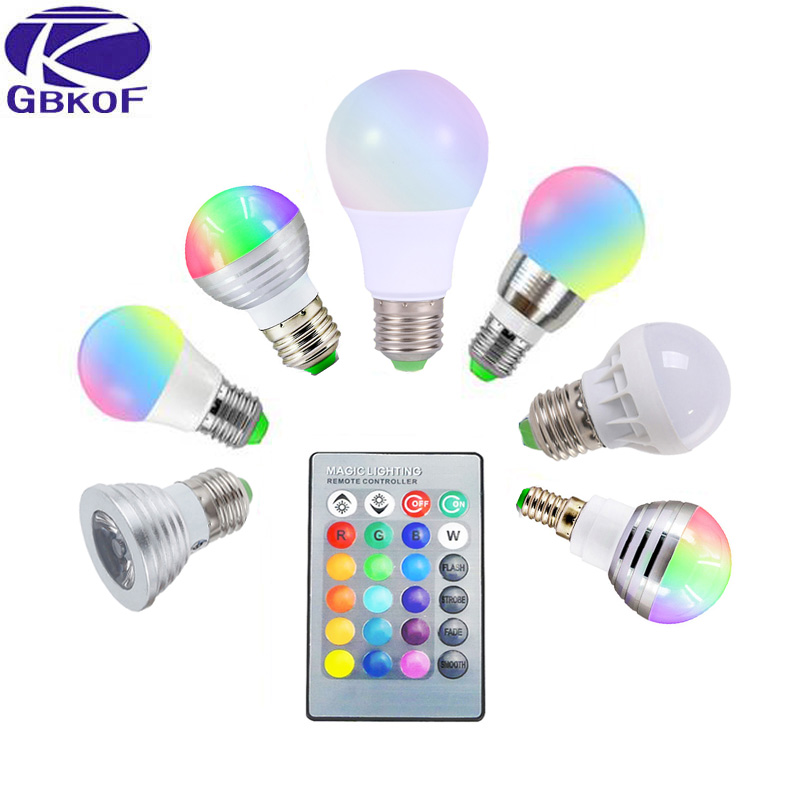 3W 5W 7W 10W RGB LED Bulb E27 E14 GU10 AC 110V 220V LED lamp with IR Remote Control Dimmer Holiday Decor Colorful Night lighting e27 e14 rgb 5w 10w ac85 265v led bulb lamp with remote control multiple colour rgb led lighting