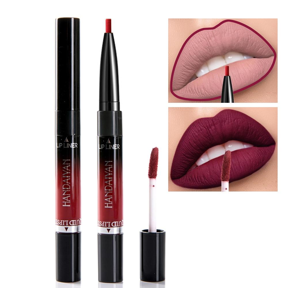 Handaiyan Liquid Lipstick Pink Purple Red Lipgloss Long-lasting Waterproof Nude Mate Lip Liner Pencil Double-end Matte Lipsticks 2
