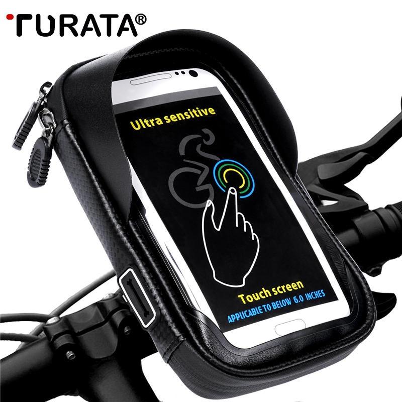 TURATA 6.0 pollice Della Bici Della Bicicletta Sacchetto Del Telefono Cellulare Impermeabile Titolare Del Motociclo Mount per Samsung galaxy S8 Plus/iPhone 7 Plus/LG V20