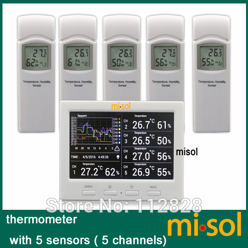 Wireless weather station with 5 sensors 5 channels color screen data logger connect to PC