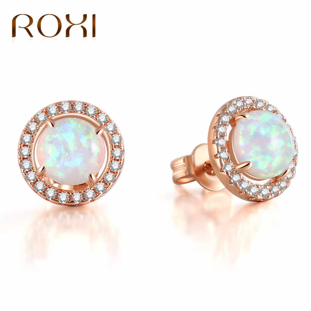 ROXI Mystic Round White Fire Opal Earrings For Women Rose Gold Crystal Zirconia Stud Earrings Wedding Jewelry boucle d'oreille 3
