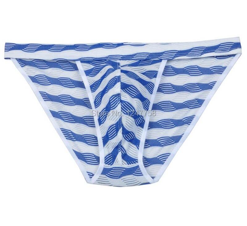 Mens Bluge Pouch Bikinis Briefs Pants Gay Underwear Male Unique Stripe Mesh Mini Briefs