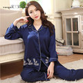 New fashion sexy floral pattern women home wear large size L-XXXL blue satin night suits ladies sleepwear set