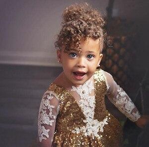 Image 5 - Brillante hi lo lentejuelas doradas de manga larga vestidos de flores para niñas y bebés traje para fiesta de noche de cumpleaños con tren largo