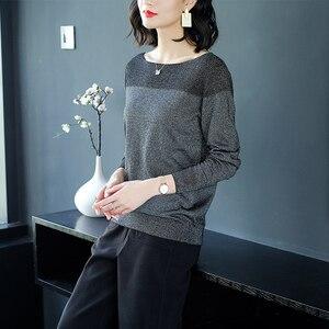 Image 2 - YISU 薄型セーター女性の O ネックセーター女性 2019 春秋のルースプルオーバーカジュアル明るいシルク固体セーター女性