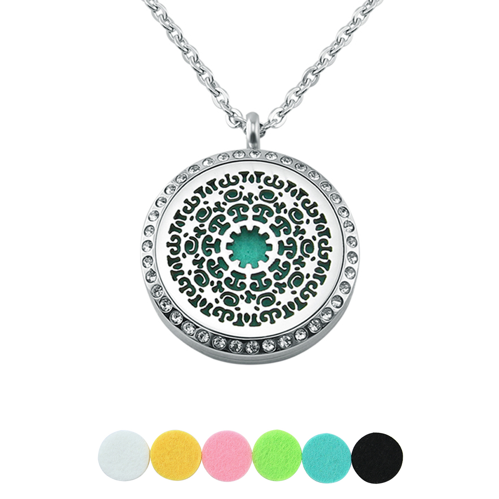 6 Free pads Crystal flower oil diffuser perfume aromatherapy locket necklaces pendants fashion solid women men stainless steel locket