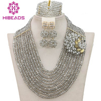 Handmade Silver Crystal Women Necklaces Costume Jewellry Nigerian Wedding African Beads Jewelry Set Free Shipping WB903