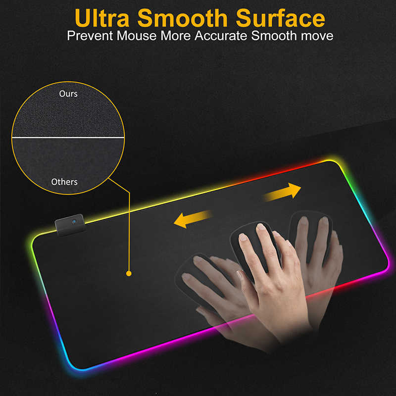 Gaming Mouse Pad Komputer Mousepad RGB Besar Mouse Pad Gamer XXL Mouse Karpet Besar Mause Pad PC Meja Bermain Mat dengan Backlit