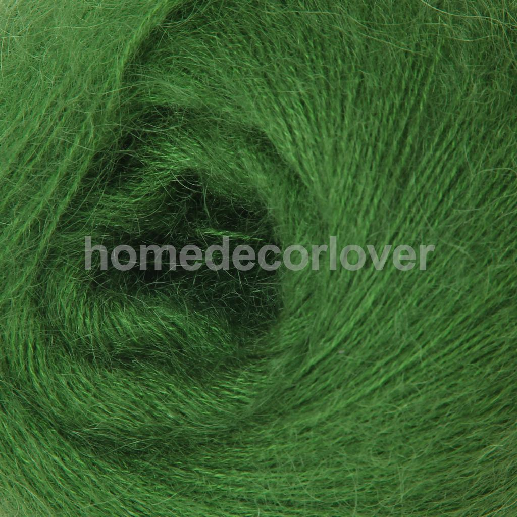 One Skein Of Angola Mohair Cashmere Wool Knitting Yarn Needlecraft Green