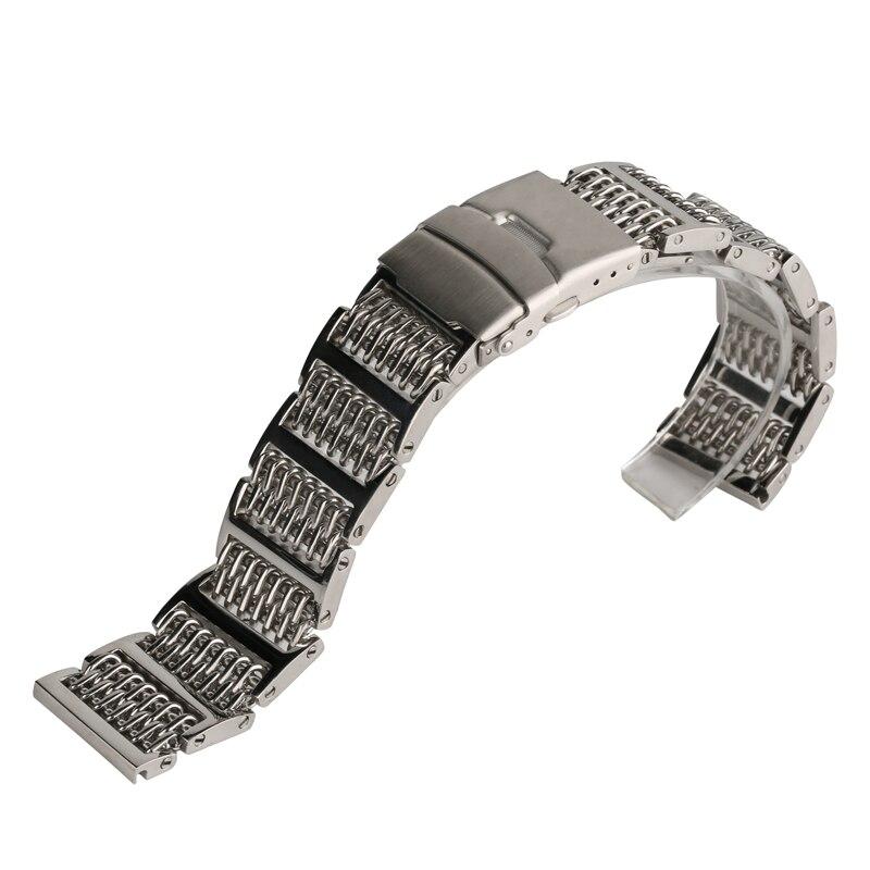 Saatler'ten Saat kayışları'de Yüksek Kalite Yeni Stil 20/22/24mm Gümüş Paslanmaz Çelik Erkek saat kayışı Saat Kayışı Kadın Basma Düğmesi gizli Bilezik title=