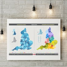England Counties Map Canvas Poster Prints Ceremonial and Metropolitan Counties Maps Art Painting Home Wall Art Picture Decor(China)