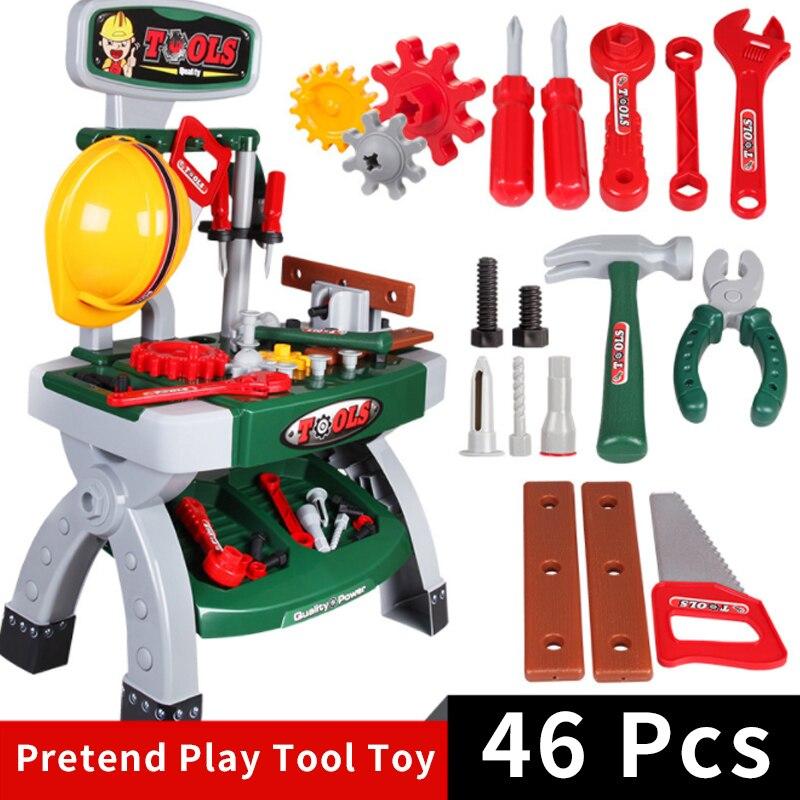 Nouveau 46 pièces/ensemble semblant jouer outil jouets garçons menuiserie ingénieur en plastique construction outils vaisselle enfants ensemble éducatif cadeau D16
