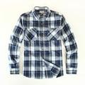 Promoción de La marca de Los Hombres Camisa Ocasional Clásico de manga Larga A Cuadros Camisa de Los Hombres EE.UU. Tamaño S-XL Gris Azul Púrpura de Alta Calidad