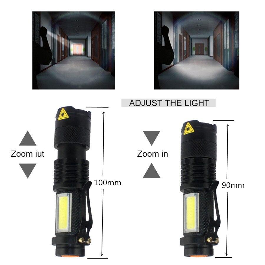 Image 2 - Portable LED Torch Q5 COB Mini Black 2000LM Waterproof LED Flashlight Zoom Torch Penlight Use AA 14500 Battery Lighting Lantern-in LED Flashlights from Lights & Lighting