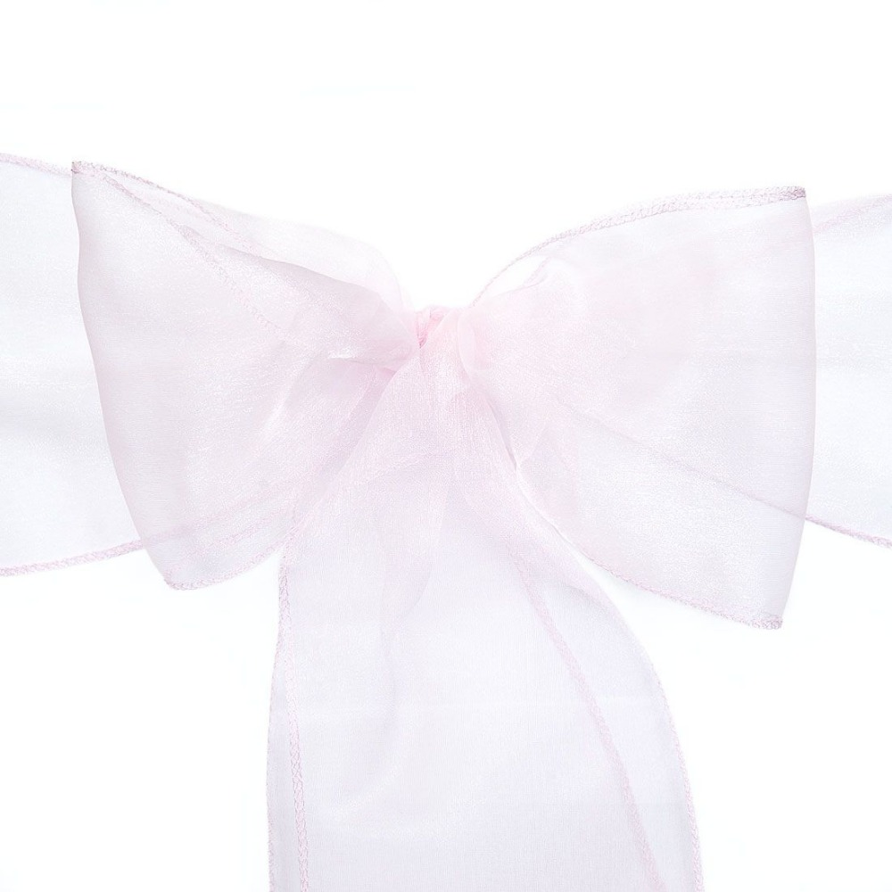 Light pink chairs - 100pcs Light Pink Organza Chair Sashes Bow For Wedding Party Banquet Chairs Decoration Bridal Party