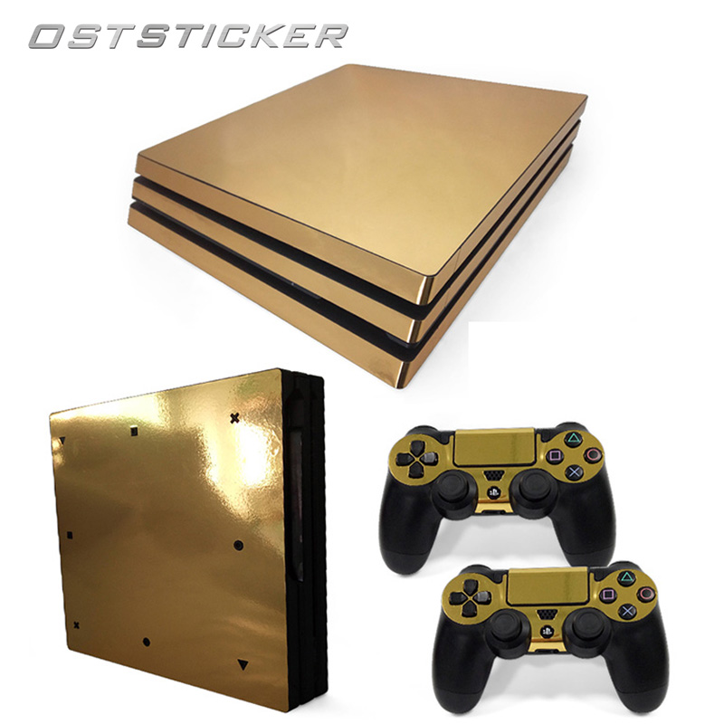 30% off OSTSTICKER Chrome Gold For Sony PS4 Pro Vinyl Skin Sticker Cover For Playstation 4 Pro Console and Controller Decal