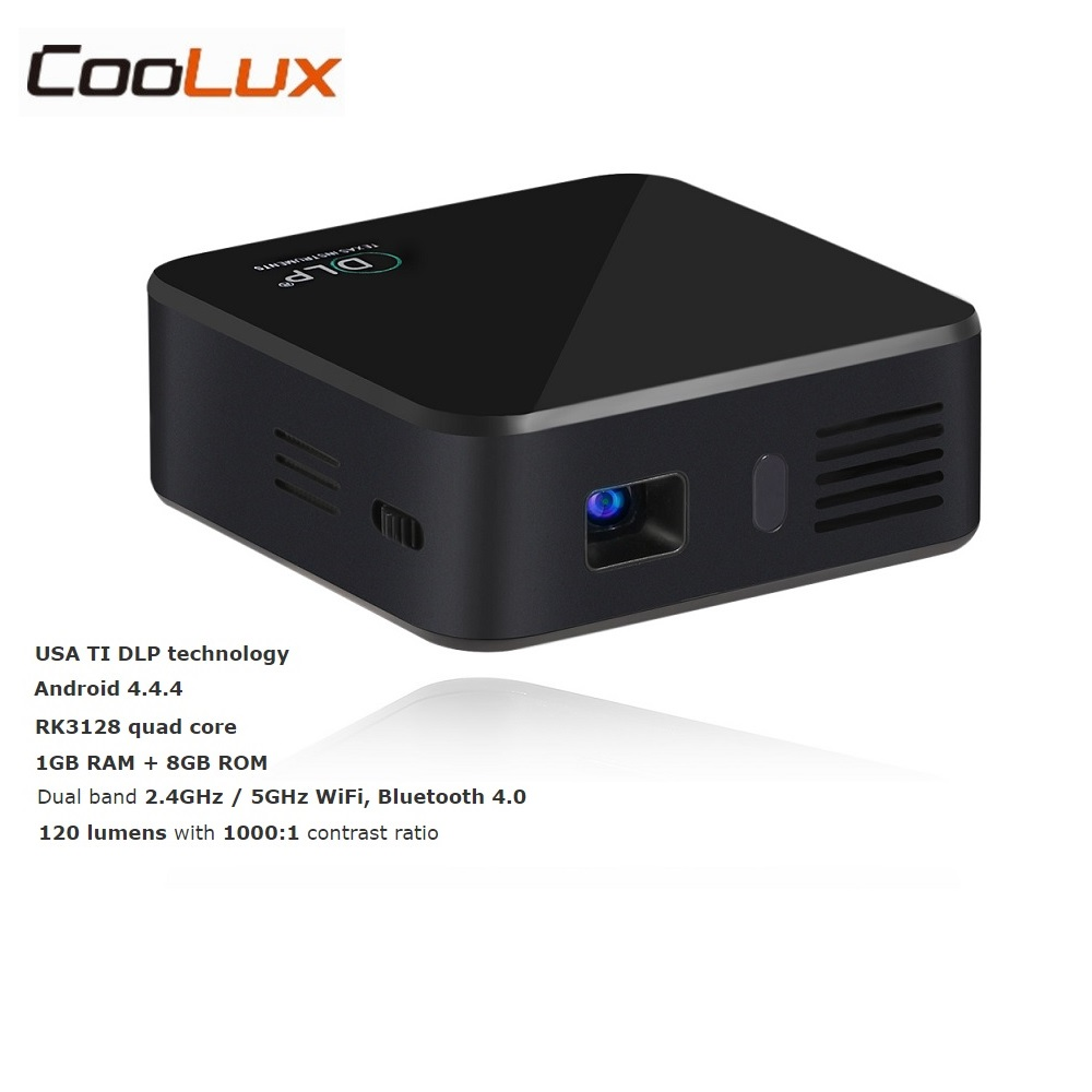 Coolux E05 Mini DLP Pocket Projector 120LM Android OS Quad Core CPU 854x480 Pixels 1080P HD Media Player Support WiFi Bluetooth