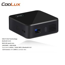 Coolux E05 Mini DLP Pocket Projector 120LM Android OS Quad Core CPU 854×480 Pixels 1080P HD Media Player Support WiFi Bluetooth