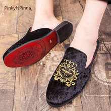 Luxury royal style men mules slippers velvet handmade embroidery bee pattern exotic designer loafers fashion brand casual shoes