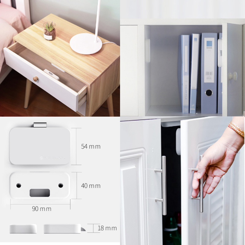 Image result for Xiaomi MIjia YEELOCK Smart Drawer Cabinet Lock Keyless Bluetooth APP Unlock Anti-Theft Child Safety File Security Drawer switch