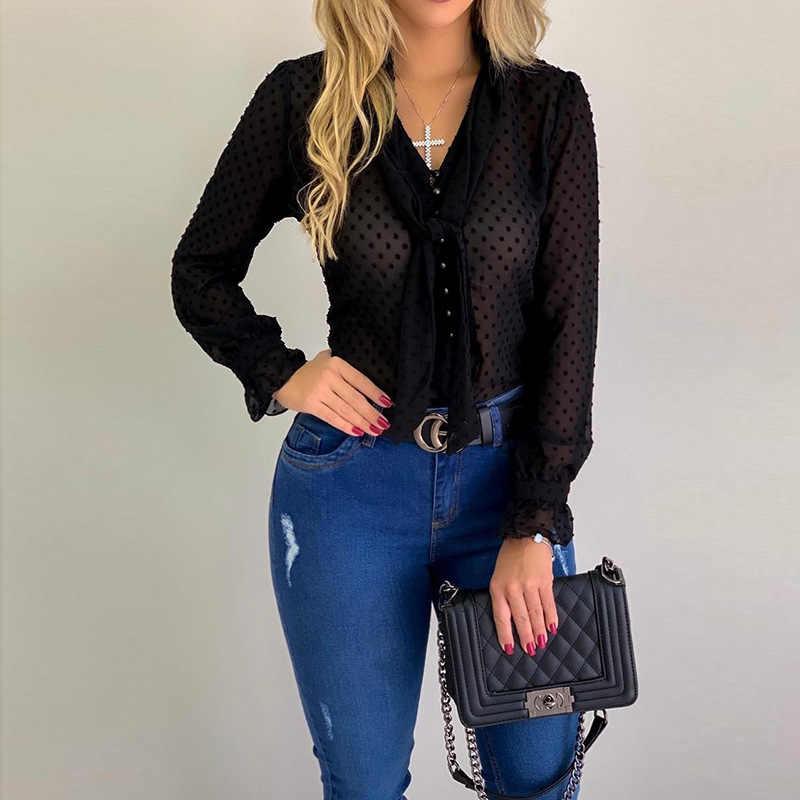 Женская блузка, топы, модная, в горошек, с v-образным вырезом, элегантная, тонкая, Повседневная рубашка, тонкая, офисная, для девушек, шифон, с длинным рукавом, летние, женские топы yf0196