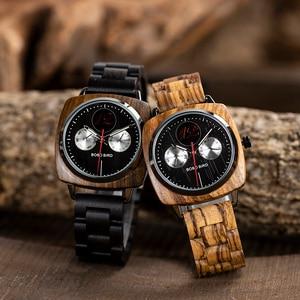 Image 4 - גברים שעון בובו ציפור עץ קוורץ שעוני יד זכר Saat erkek שעונים להראות תאריך שבוע ליצור שעון בעץ תיבת relogio masculino